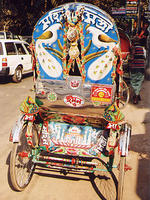 Painted rickshaw.